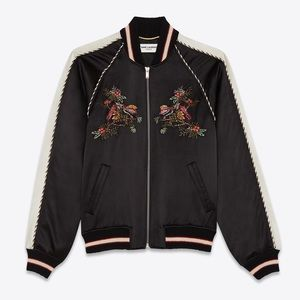 ISO YSL SATIN VARSITY JACKET w/ BIRD OF PARADISE